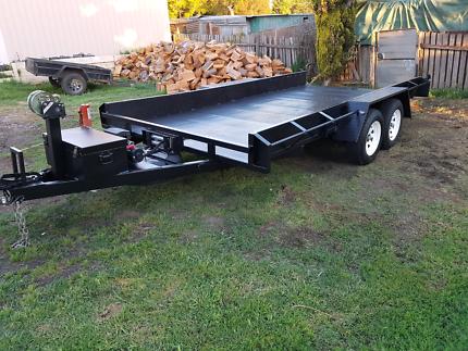 Car trailer.  Tandem trailer . Dual axel