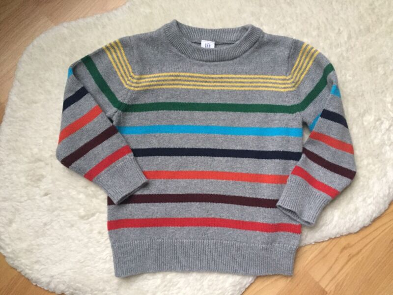 Baby Gap Boys Knit Gray Multicolor Stripped Pullover Sweater Sz 3
