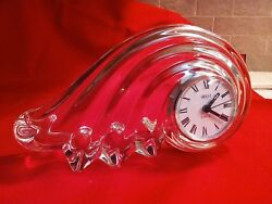10.25 Mikasa Quartz Clock Clearwater Wave Austrian Lead Crystal Made In Germany