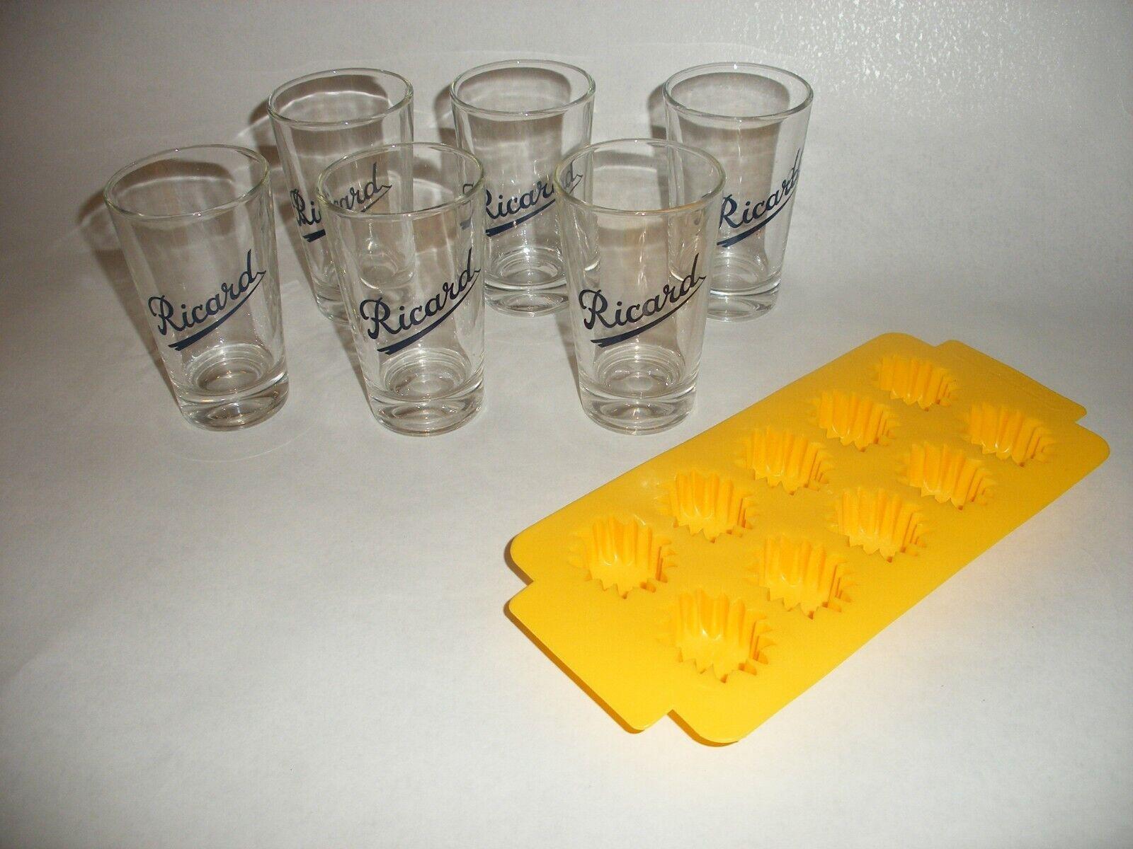 N°1 lot de 6 verres ricard + 1 bac à glaçons neuf de stock