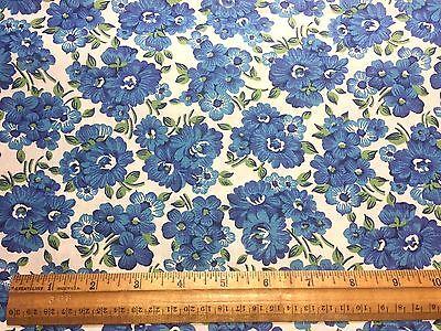 Vintage Cotton Fabric 40s PRETTY Blue Floral Bouquets 35w 1yd