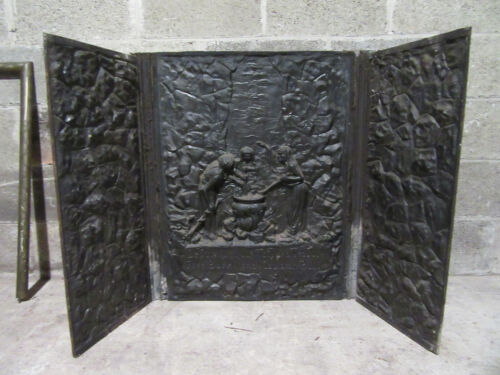 ~ ANTIQUE 3 PIECE CAST IRON FIREBACK 3 WITCHES FROM SHAKESPEARES MACBETH SALVAGE