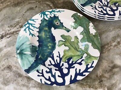 Seahorse And Coral Melamine Salad Plates. Blue And Green. Set Of 4. New. (Coral Plates)