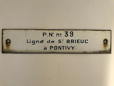 Authentic Old Enameled Metal French SNCF Train Route Sign Brieuc to Pontivy 39