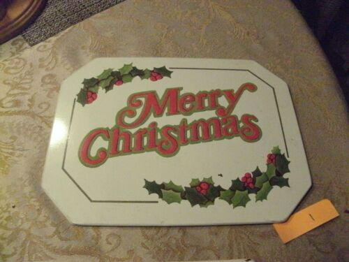 RR-20#5    Vintage Wallcraft Merry Christmas Hot Mat,  Antique Tin Series