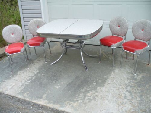Vintage 1950s Red & Gray Cracked Ice Formica Chrome Dinette Set & 4 Vinyl Chairs
