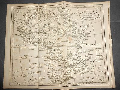 1808 COPPER PLATE LINE ENGRAVING MAP OF AFRICA FROM THE BEST AUTHORITIES