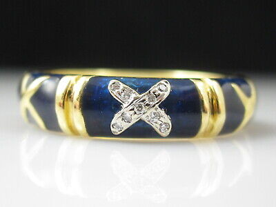 HIDALGO Diamond Blue Enamel Ring 18K Yellow Gold Band Size 6.5 Fine Jewetry