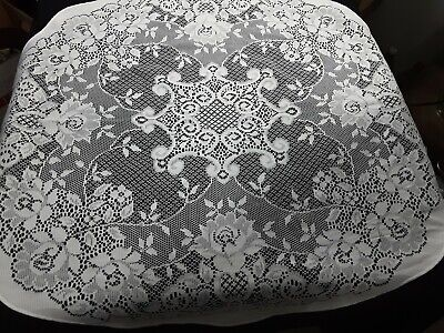 """Lace Round Table Cloth Topper  Doily  37"""" Soft White machine made"""
