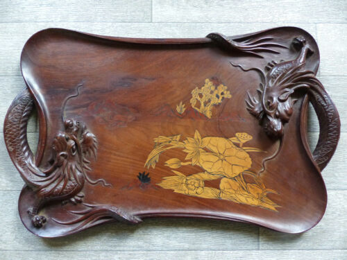 SUPERB & LARGE OLD CHINESE CARVED & INLAID WOOD TRAY with 2 DRAGONS