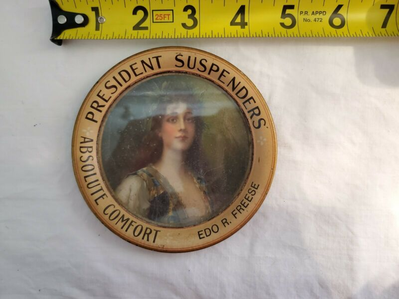 Antique President Suspenders Absolute Comfort Litho Tip Tray
