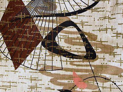 VTG MCM Mid Century Atomic Boomerang GOLD Barkcloth Fabric Curtain Panel #2
