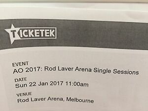Australian Open Tennis Ticket - Rod Laver Arena - Sunday 22nd Jan South Melbourne Port Phillip Preview