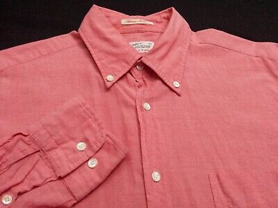 Gant Rugger Mens Medium Long Sleeve Button-Down 100% Cotton Solid Pink Shirt