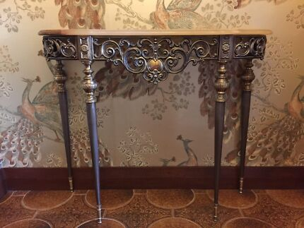 Vintage ornate coat stand & console table - made of onyx & brass