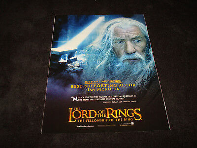 LORD OF THE RINGS FELLOWSHIP OF THE RING Oscar ad Ian McKellen as Gandalf, tomb
