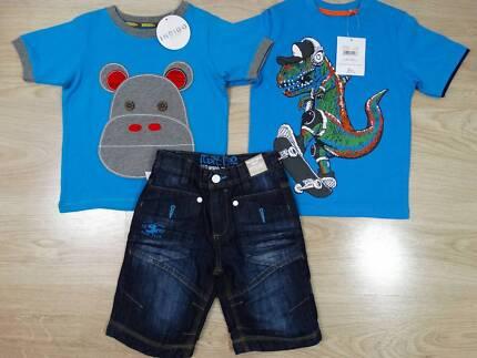 Next Direct Boys Denim Shorts M&S T-Shirts x 2 Age 4-5 Size 5