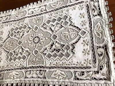 """Vintage Hand Embroidered Natural Linen Silvery Taupe Table Centre Cloth 15x10"""""""