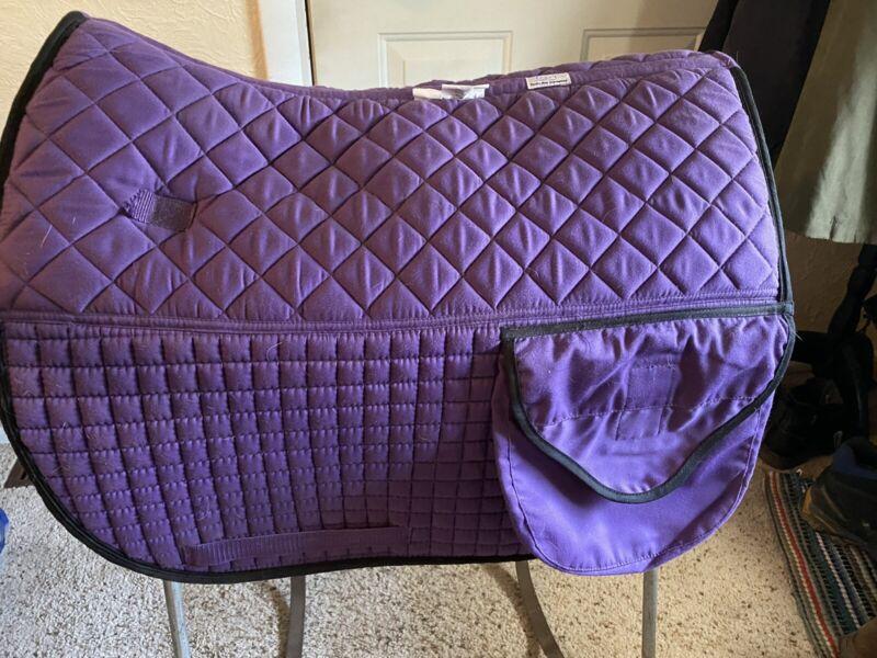 "PRI Purple Contoured Dressage Trail Pad W/pockets & Fleece. 22"" Spine. Nice"