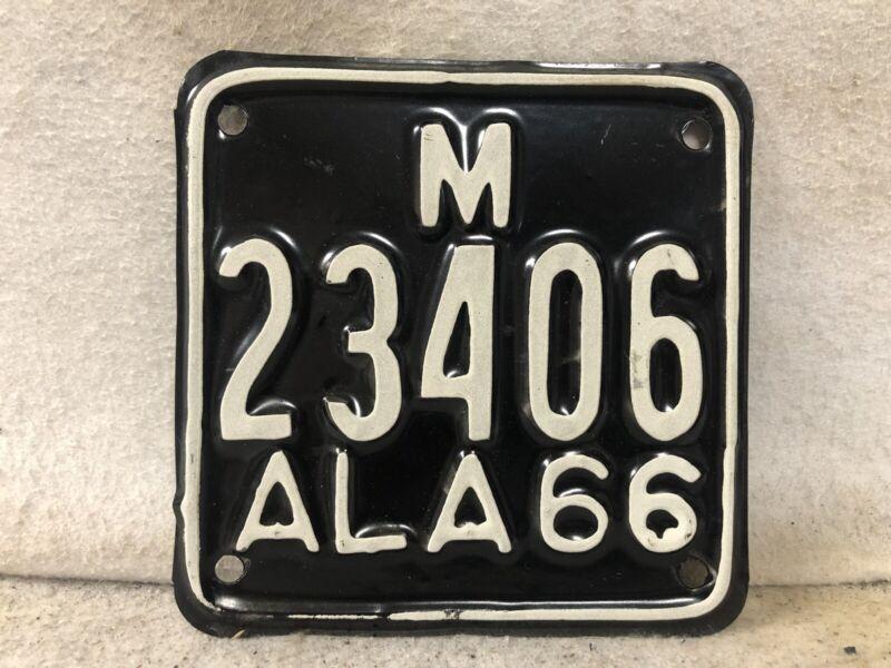 Vintage 1966 Alabama Motorcycle License Plate