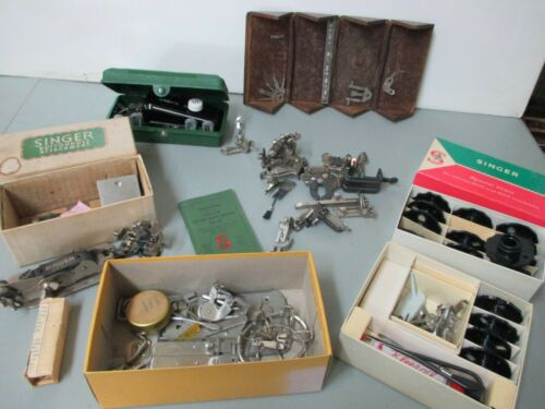 Antique Singer Sewing Machine Folding Puzzle Box Button Hole disc Attachments