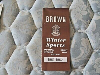 1961 62 Brown Basketball Media Guide Yearbook Hockey Swimming Track Wrestling Ad