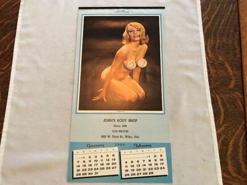 1968 John's Body Shop Vintage Art Revue Risqué Calendar, Wilmington, Delaware