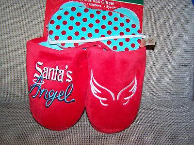 New Santa's Angel Christmas Gift Set Plush-Slippers Eye-Mask Red Size-7-8-Med