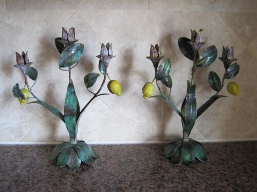 VINTAGE METAL TOLE ITALIAN LEMONS AND LEAVES CANDLESTICKS