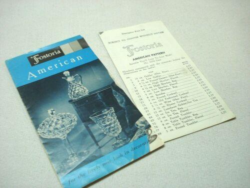 VINTAGE 1968 FOSTORIA AMERICAN MINI BROCHURE CATALOG AND PRODUCT PRICE LIST
