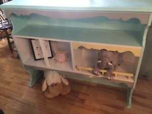 Great kids shelf for play area.