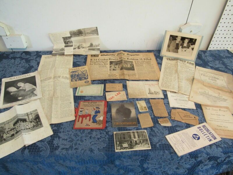 Vtg Lot WWII Military Solider Collection Newsletters Photos Postcards Ephemera