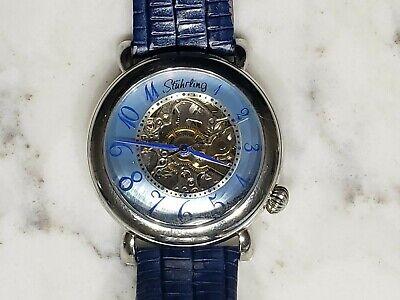Stuhrling Blue Face Original Automatic Watch Skeleton 50 Meter 20 Jewel