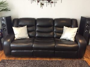 Dark brown faux leather couch