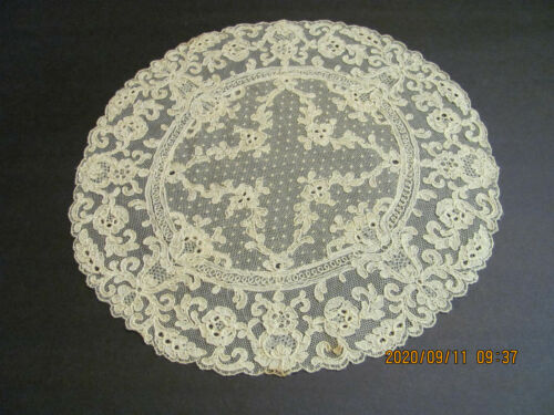 "Vintage Ivory Light Ecru Fine Embroidered French Net Lace Round Doily 11"" J2"