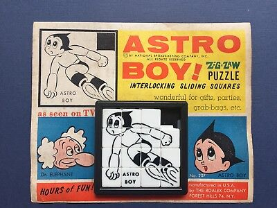 ASTRO BOY 1963 SLIDE PUZZLE ROALEX #207 VINTAGE CARDED TOY NBC TV MOC SCARCE