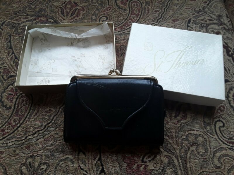 Vintage St Thomas Leather Coin Purse Wallet Unused New in Box Black