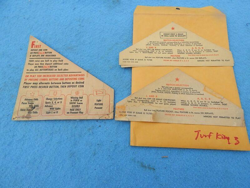 1950 Bally TURF KING Instruction Cards - 3 each
