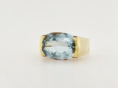 Natural Aquamarine Set In 18k Yellow Gold Ring - Item #11469 18k Yellow Gold Ring