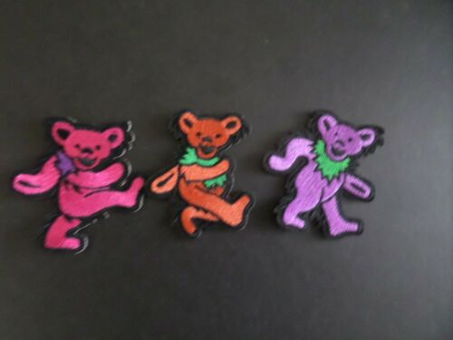 """LOT OF 3-DANCING BEARS GRATEFUL DEAD"""" EMBROIDERED IRON ON PATCHES #1"""