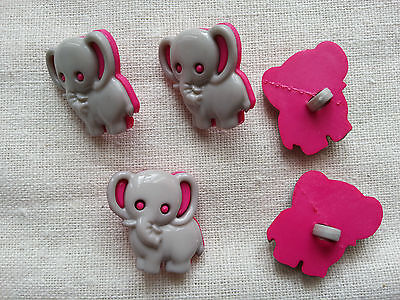 6 x Buttons Kids Clothing Knitting/Sewing Card Making Elephant