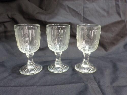 "Lot of 3 Iris And Herringbone Wine Goblet 4 1/4""  Jeanette Glass Co"