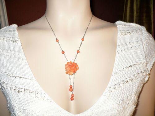 Antique Art Deco Sterling Silver & Carved Rose Flower Coral Lavalier Necklace