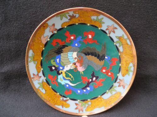 """AntiqueJapanese Cloisonne Enamel Plate Phoenix 6"""" D"""
