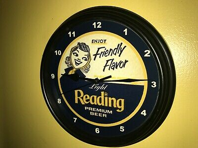 Reading Premium Beer Bar Advertising Man Cave Wall Clock Sign