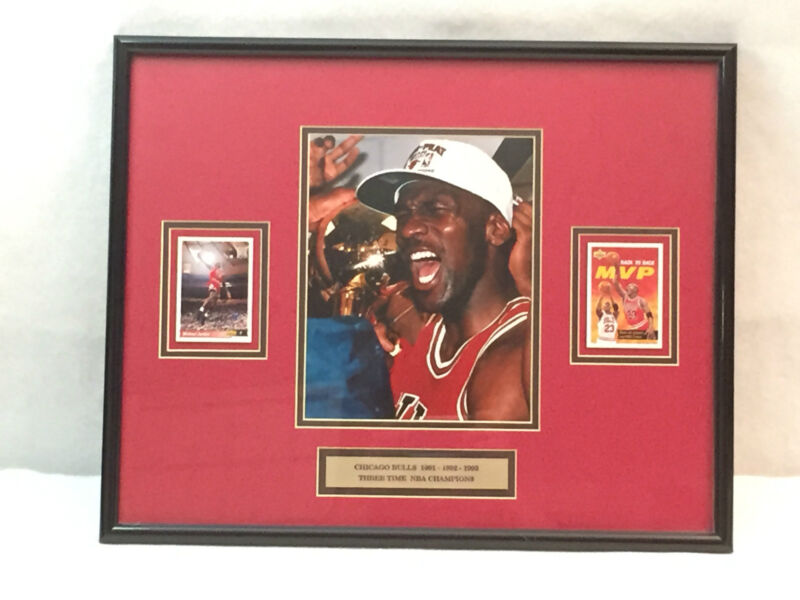 Michael Jordan 3 Time Champs Chicago Bulls 1991 92 93 Framed Picture Art 21 x 17