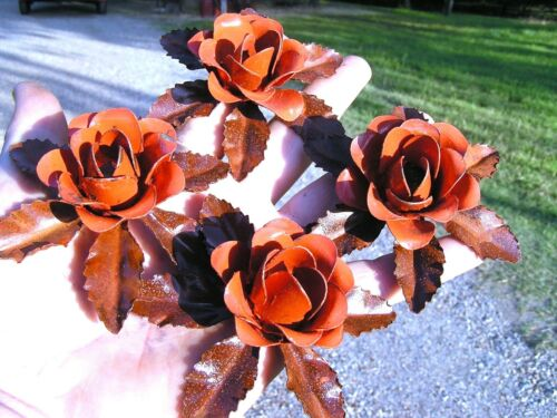 4 metal burnt orange roses, flowers & leaves for accents, embellishments