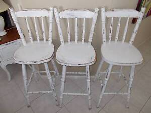 3-White distressed look white traditional high wooden chairs Prestons Liverpool Area Preview