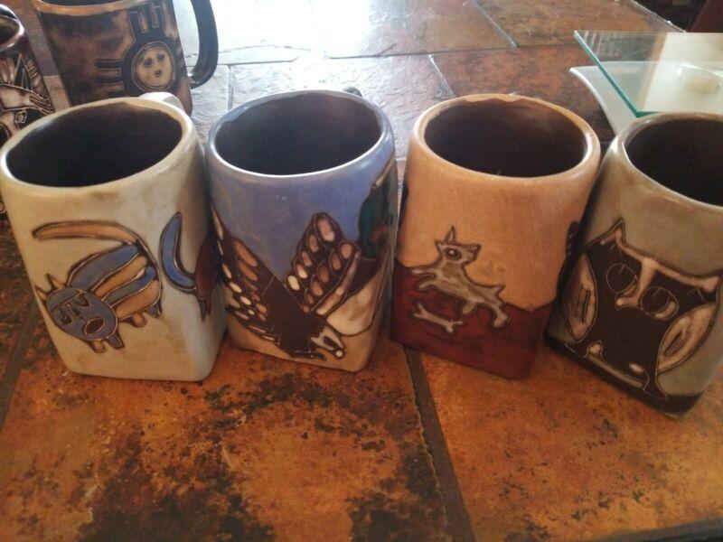 FOUR Mara Mexican Pottery Stoneware square bottom coffee mugs
