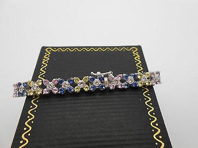 14k White Gold Natural Pink Blue & Yellow Sapphire & Diamond Tennis Bracelet